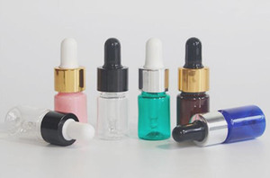 5ML 플라스틱 전자 액체 병 PET dropper 병 투명한 황색 블루 그린 핑크 에센셜 오일 병 골드 실버 블랙 뚜껑 유리 pippet
