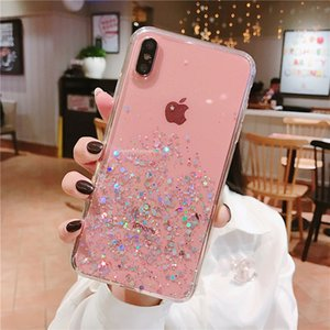 İPhone 11 Pro 6 6 S 8 7 Artı XR 10 X XS Max 5 S Kapak Glitter Bling Star Moon Sequins Yumuşak TPU Temizle Silikon Telefon Kılıfı