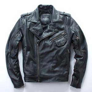 Chaqueta de motocicleta Harley Slim con solapa con cremallera y un bolsillo oblicuo la capa de cuero genuino