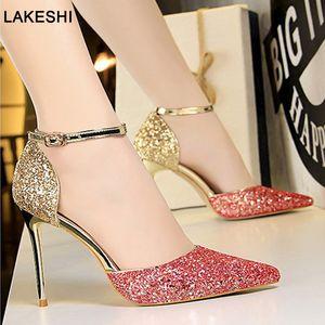Bahar Yeni Kitten Heels Bayanlar Stiletto Bling Kadınlar Sandalet Seksi Yüksek Topuk Kadın Ayakkabı Altın Gümüş Düğün Ayakkabı