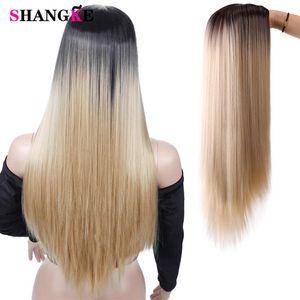 Shangke Longo Natural Direto peruca sintética Mixed Brown e longo louro perucas para mulheres Africano-americanos