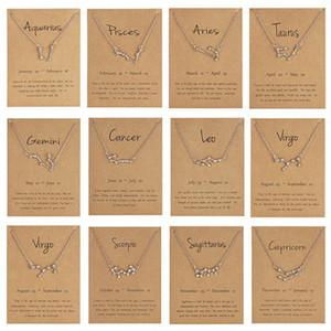 12 Konstellation Sternzeichen Halskette-Horoskop Zircon Korean Schmuck Star Galaxy Waage Astrologie Frauen Halsketten-Geschenk mit Klein Karte