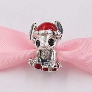 Authentische 925 Sterling Silber Perlen Disnny Stich Weihnachten Charm Charms Passt Europäische Pandora Style Schmuck Armbänder Halskette 798452C01