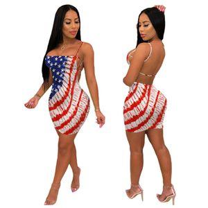 Para mujer de la independencia americana Día Vestidos Sexy correa de espagueti sin respaldo de Bodycon viste el verano del diseñador de la bandera de impresión de la manera Ropa Casual