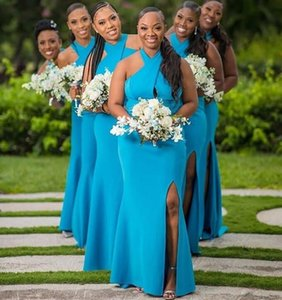2020 blue Mermaid Bridesmaid Dresses halter neck Sweep Train Lace Country Wedding Guest Gowns Maid of Honor Dress Cheap Free Shipping