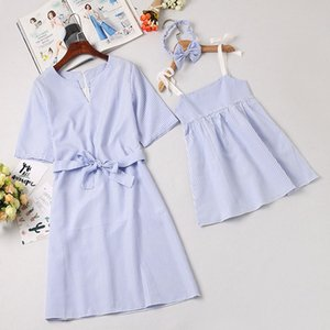 Mother Daughter Dress Children Clothing Fashion Mom And Kids Couple Look Stripe Family Matching Outfits Baby Girls Clothes Dress