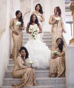 Bling Bling Altın Pullu Gelinlik Modelleri Kat Uzunluk Ucuz Seksi Uzun Kollu Düğün Konuk Örgün Abiye giyim Arapça Artı Boyutu