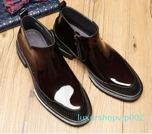 Super design Patent Leather Men's Martin boots,Comfortable Luxury Men's Dress Boots,high quality Men's Business boots Size 38-44 MBS 017