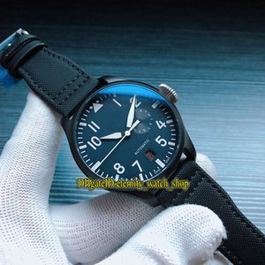 Luxus-Fliegeruhren Top Pistole Naval Air Force IW502001 Power Reserve Blau Dial Miyota Automatik Herren-Uhr-Stahl-Gehäuse Nylon Sportuhren