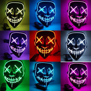 Halloween LED Light Up Mask Many Options Party Cosplay Masks The Purge Election Year Funny Glow In Dark Horror Masks