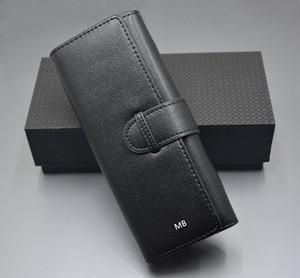 Caso de cuero de lujo Negro mb bolsa de la pluma para 1 bolígrafo o 2 plumas de alta calidad Marca Conjunto de lápiz accesorios + caja de regalo + Manual