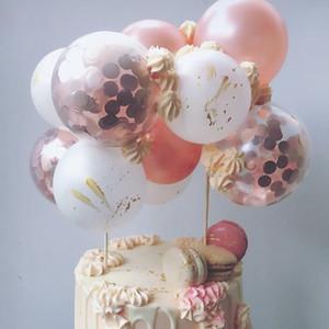 montão bolo enfeitam suprimentos 10pcs / set balões 5 polegadas bolo topper show de festa decorações crianças Rose balão de ouro aniversário Caketopper bebê ...