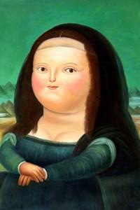 Famoso Fernando Botero Monalisa alta Mão Qualidade HD pintou a cópia da parede da casa Pintura a Óleo Art Decor sobre tela multi Tamanhos / FR02 Quadro