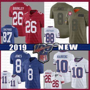 26 Saquon Barkley Futbol New Jersey York Dev 8 Daniel Jones 10 Eli Manning 11 Phil Simms 88 Evan engram Formalar 87 Sterling Shepard kırmızı