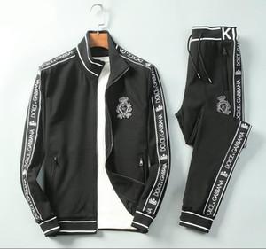 2020 Frühling und Herbst Anzug Schlank Qualitäts-beiläufige Reißverschluss Luxus Anzug Schwarz Cardigan Herren Designer Tracksuits asiatische Größe M-3XL