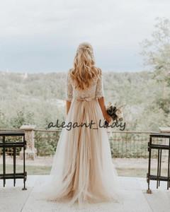 Бифштексы кружева Свадебные платья с рукавом Половина Vintage Low Back Champagne Полная длина Страна Boho Свадебное платье Люкс
