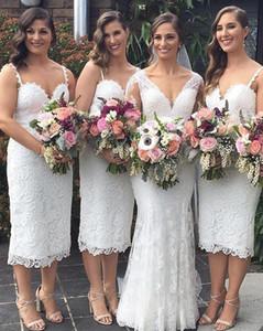 Chique Curto País Ocidental Casamentos Do Jardim Dama de Honra Vestidos de 2019 Vestidos de Cocktail de Comprimento de Chá de Espaguete Correias Mãe vestido BM0340