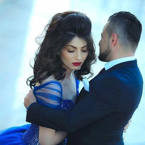 Royal Blue Ball Gown Off The Shoulder Floor Length Sweetheart Neck Top Beaded Evening Dresses Tulle Formal Party Prom Gowns
