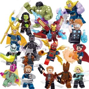 Foguete 16pcs Avengers 3 Infinito Guerra do super-herói Homem de Ferro Green Giant Trovão Thanos Black Panther Spiderman Groot Building Blocks Toy tijolo