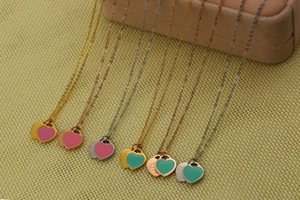 Hotstone88 2019 Wholesale Love Pink Blue Double Happiness Necklace Heart Shaped Rose Gold Short Clavicle Chain Eternal Love Free Shipping