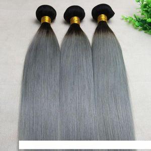 Ombre Grey Human Hair Weave Straight Brazilian Viegin Hair Bundles Two Tone Color Gray Hair Bundles Top Quality Best Seller