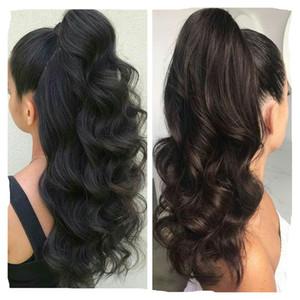 Human Clip Ins coda di cavallo per le donne Natural Black Body Wave Clip nelle estensioni dei capelli umani Capelli Remy mongolo Double Weft Hairpieces 160g