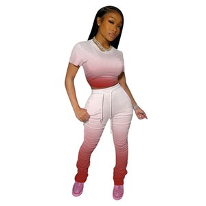 Gradient Color Two Piece Set Fashion Short Sleeve Short Top Long Stacked Pants with Pockets Womens Summer Tracksuits
