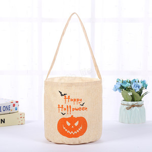 Halloween panier citrouille mascarade parti sac de toile crâne imprimer sac de rangement enfants bonbons sac à main sac cadeau LJJA3071