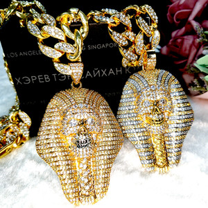 Hot 24K Gold & Silver Iced out Egyptian Pharaoh copper Crystal Zircon Diamonds Pendant Necklace Vacuum Plated Jewelry pop Necklace