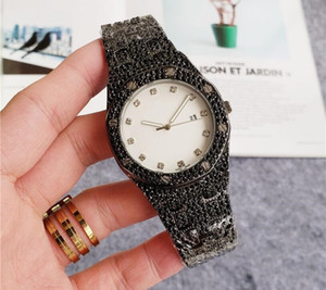 High Quality Business Mens diamond Women big watch Round Full diamond ring wristwatch hour mark iced out Watch Day Date