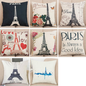 Torre Eiffel de Paris do vintage capa de almofada travesseiro Fronha decoração de casa decoração cadeira para Decoração de Casa Sofá Fronha XD21350