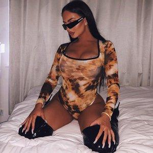 Hot Explosion Modelle 2020 neue Winter-Frauen runder Ausschnitt Lang-Hülse Personality Printed Figur Fit Piece Pants Womens