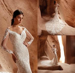 Eddy K Mermaid Wedding Dresses Illusion V Neck Lace Appliques Long Sleeve Bridal Gowns Sweep Train robe de mariée
