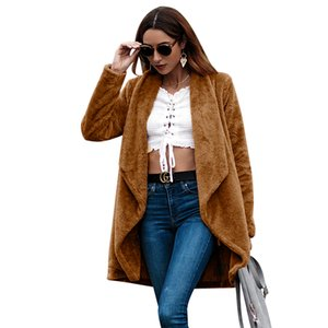 Autumn Winter Open Front Turn Down Collar Solid Color Fuzzy Oversized Warm Long Sleeve Fleece Women Coat Jackets Cardigan Outwear Coat