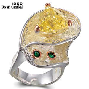 DreamCarnival 1989 TopBrand Special Design Twisted Look Women Zircon Wedding Ring Silver Rose Gold Color Quality Jewelry WA11718