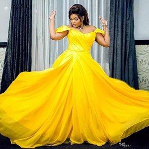 Длинные шифоновые желтые платья выпускного вечера Высокий шею с длинным рукавом Abric Вечерние платья Кружевные аппликации из бисера Vestidos De Fiesta Dubai Evening Wear