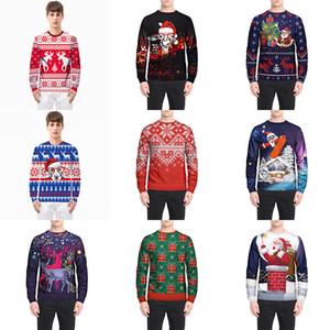 Sweatshirts De Noël Pull Manteau T-shirt Pour Le Père Noël Flocon De Neige Renne Bande Dessinée À Manches Longues Casual Home Vêtements HH7-1918