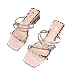Alluring2019 Grosso Rhinestone Sapato Quadrado Transparente Fasciola Chinelo Com Sandálias H67 -2