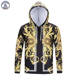 Mr.1991INC Nueva marca de moda Degin T-shirt Hombres / Mujeres Camiseta con capucha Imprimir Flores doradas Camiseta de manga larga con sombrero