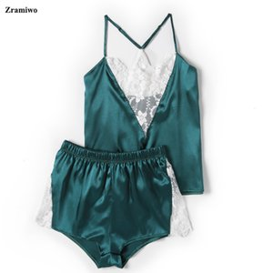 Zramiwo Womens Sexy Sleepwear Set Cetim Pants Calças Definir Bordado Camisola Laço Camisole Curto Verão