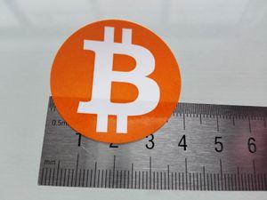240pcs diâmetro 40 milímetros bitcoin etiqueta da etiqueta do logotipo, cor de laranja impressão em papel gloss, No.FS18 item