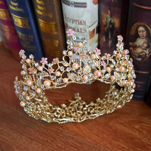 Barroco 2019 Nuevo Diseño Perlas de Cristal Con Cuentas Redondas Coronas Nupciales Tiaras Plata Oro Princesa Boda Tiaras Hermoso Tocado Accoessorie