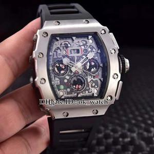 NOVA caixa de aço 904L 11-03 Flyback Chrono Skeleton Dial Miyota Automático Mens Watch pulseira De Borracha Preta Relógios Presente perfeito 12 cores