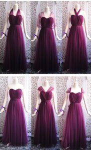 Grape Purple Tulle Beach Convertible Bridesmaid Dresses Lace Up Wedding Party Dress 2020 Vestido Madrinha Abiti Damigelle