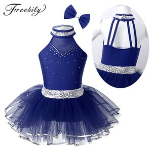 أطفال هالتر تتررز براقة Rhinestone Mesh Tutu Ballet Skill Skating Dry Gymbass Leotard Girls Performance Dance Dance Cost
