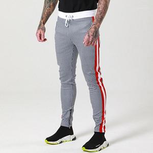 Pantalones con cordón deportes para hombre del basculador de pantalones para hombre nuevo del estilo de los pantalones de tela escocesa del diseñador de moda Impreso flaco