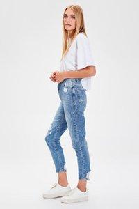 Trendyol Mavi-Flushing Yüksek Bel Anne Jeans