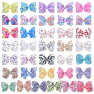 Ins 2020 7inch rainbow hair bows girls hair clips dots stripe girls designer hairclips kids barrettes designer hair accessories B1313