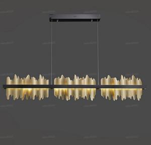 New Modern lampadario illuminazione per sala da pranzo Iceberg disegno LED hanglamp Isola della cucina Rettangolo apparecchi di illuminazione oro / nero LLFA