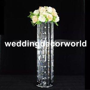 nuovo design lampadario di cristallo con ciondolo perline rettangolo arredamento di nozze di lusso in metallo vaso di fiori stand pillar decor1095